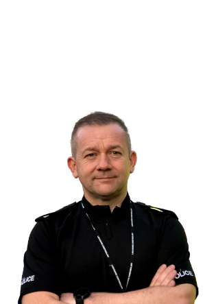 An image of a police officer with his arms crossed against his chest
