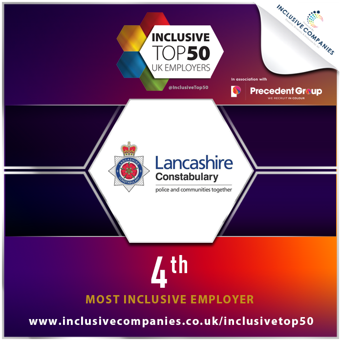 An award showing Lancashire Constabulary as UK's 4th Most Inclusive Employer